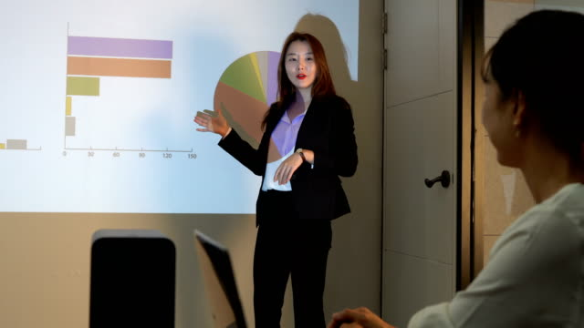 a businesswoman doing a presentation at a seminar - korea stock videos & royalty-free footage