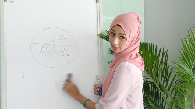 businesswoman erasing pie chart on whiteboard - beautiful woman stripping stock videos & royalty-free footage