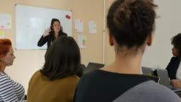 Businesswoman explaining colleagues in meeting