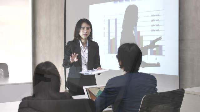 実業家は、彼女のビジネス部門の同僚と会議室でマネージャーのプレゼンテーションを与える - ビジネスパーソン点の映像素材/bロール