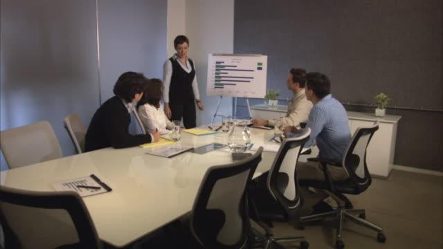 vídeos de stock e filmes b-roll de businesswoman giving presentation in front of colleagues in board room, one colleague taking notes / new york city, new york, usa - cinco pessoas