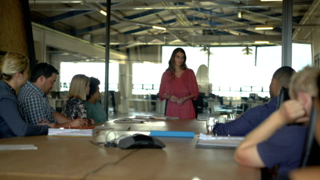 stockvideo's en b-roll-footage met businesswoman giving presentation to colleagues - 30 39 jaar