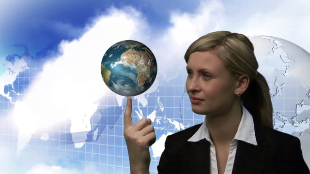 cu, composite, businesswoman holding rotating globe, world map and graph in background - liniendiagramm stock-videos und b-roll-filmmaterial