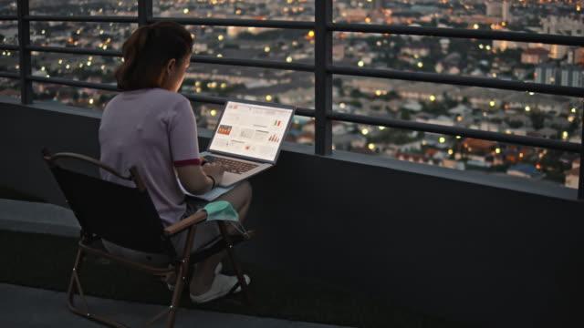 vídeos de stock, filmes e b-roll de empresária em roupas casuais trabalhando no laptop à noite, câmera lenta - sacada