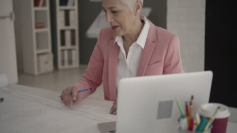 businesswoman in her office - grey hair stock videos & royalty-free footage