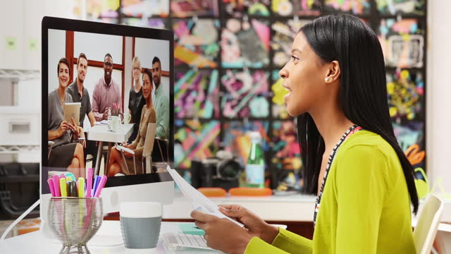 businesswoman in office teleconferencing - video conference stock videos & royalty-free footage