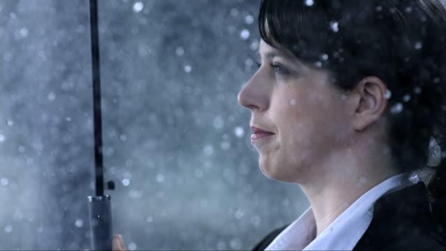 Businesswoman In The Rain (Super Slow Motion)