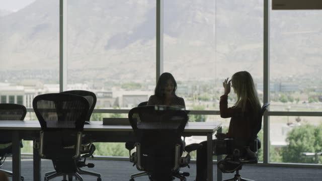 businesswoman interviewing candidate in conference room meeting / pleasant grove, utah, united states - wide shot stock videos & royalty-free footage