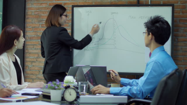 businesswoman leader meeting with professionals officer and congratulating by clapping - cinque persone video stock e b–roll