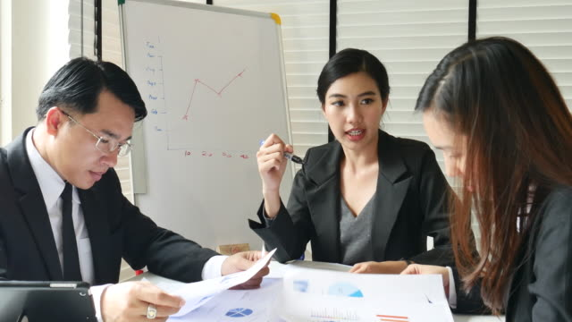 businesswoman leadership in meeting with team - asia stock videos & royalty-free footage