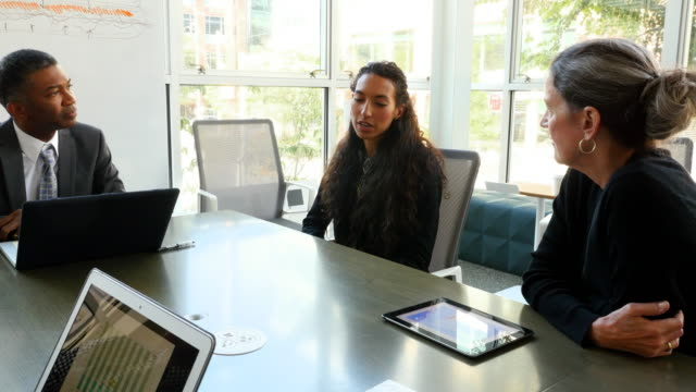 MS PAN Businesswoman leading discussion during meeting in office conference room