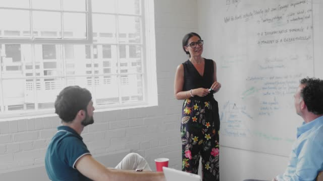 Businesswoman leading meeting at white board