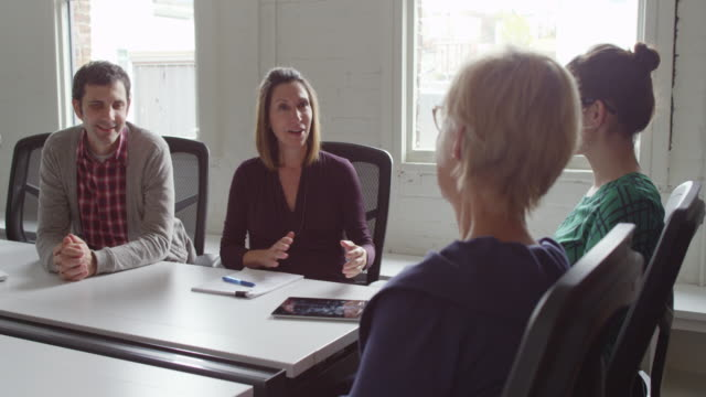 MS Businesswoman leading project discussion during meeting with colleagues in conference room