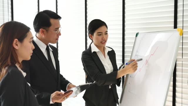 geschäftsfrau leitet brainstorming mit business team - formelle geschäftskleidung stock-videos und b-roll-filmmaterial