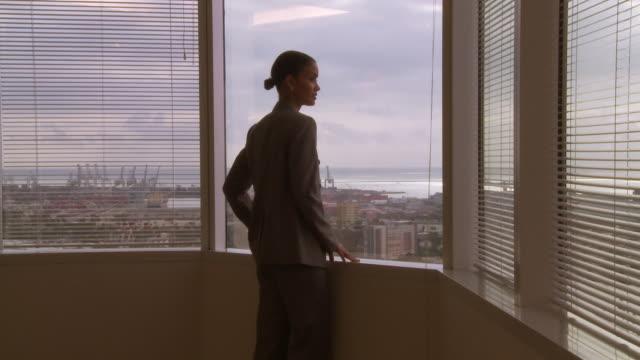 vídeos de stock e filmes b-roll de businesswoman looking out window over port - fotografia de três quartos