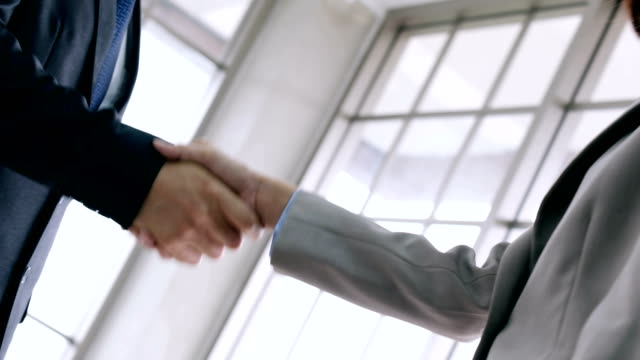 businesswoman making handshake with a businessman - greeting, dealing, merger and acquisition concepts - handshake stock videos and b-roll footage