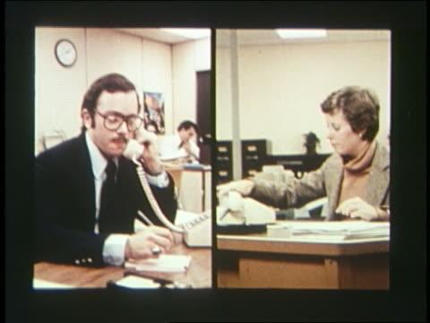 1970 split screen businesswoman + man using telephones - 1970 stock videos & royalty-free footage