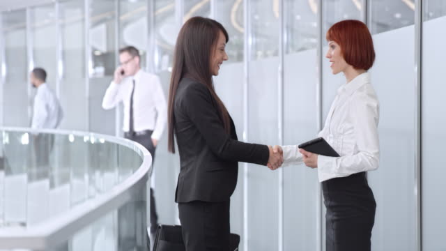DS Businesswoman meeting with colleague in corporate hallway