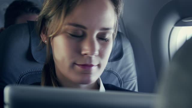Businesswoman on plane