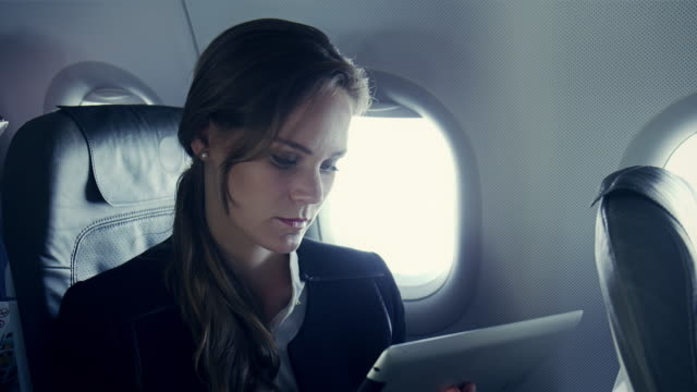 Businesswoman on plane