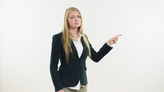 Businesswoman Pointing On Copy Space With Stop Gesture Stock