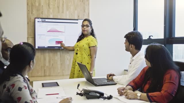 vidéos et rushes de femme d'affaires présentant le rapport annuel dans une réunion de conseil d'administration - peuple du sous continent indien