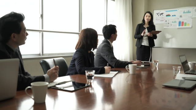 Businesswoman presenting in meeting room