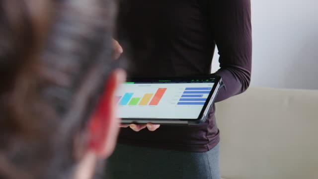 ビジネスウーマンが同僚と市場調査分析を共有 - 説明する点の映像素材/bロール