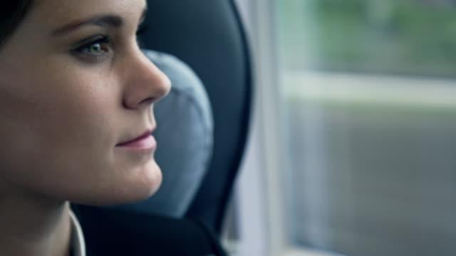 Femme d'affaires assis et travaillant dans le train