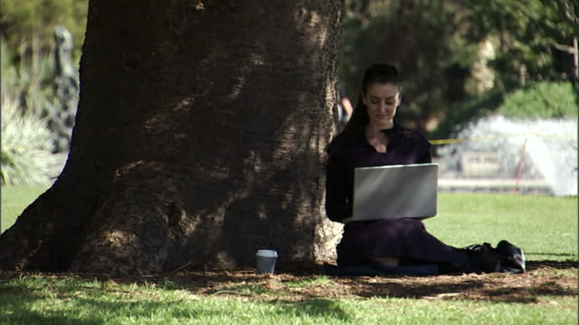 ms, businesswoman sitting on lawn in park, working on laptop, sydney, australia - multitasking stock videos & royalty-free footage