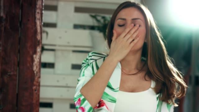 businesswoman sleeping at work - yawning stock videos & royalty-free footage