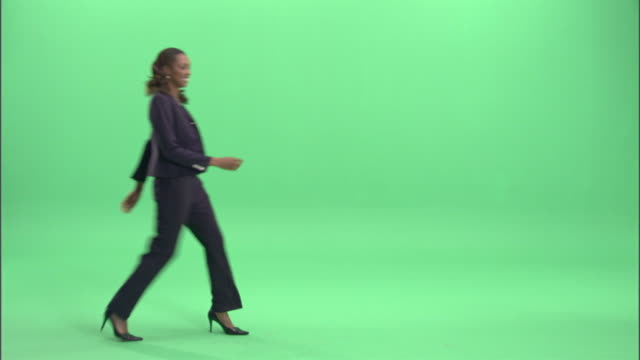 ms, businesswoman spinning around in studio - full length stock videos & royalty-free footage