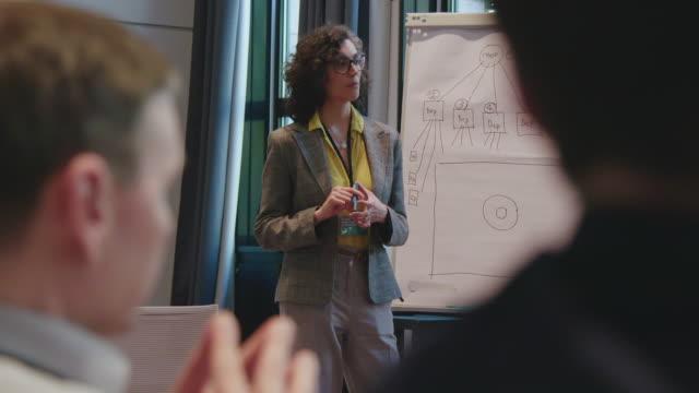 geschäftsfrau steht bei treffen am flipchart - vortrag stock-videos und b-roll-filmmaterial