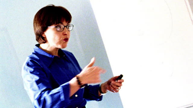 OVEREXPOSED businesswoman standing in conference room giving presentation, talking + gesturing