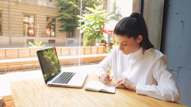 businesswoman taking notes while using a laptop. - netbook stock videos and b-roll footage