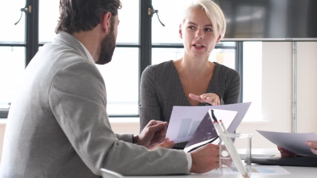 Businesswoman talking to mature man in business meeting