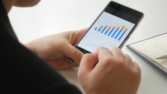 Geschäftsfrau berühren zur Überprüfung einer digitalen Grafik auf Smartphone