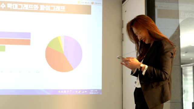 A businesswoman using a smart phone in front of the projection screen