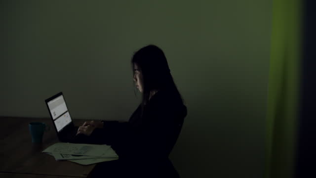 Businesswoman using computer in office at night