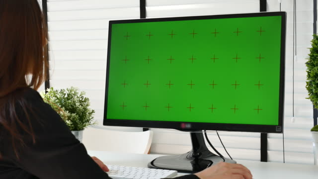 vídeos de stock e filmes b-roll de businesswoman using computer with green screen - monitor de computador