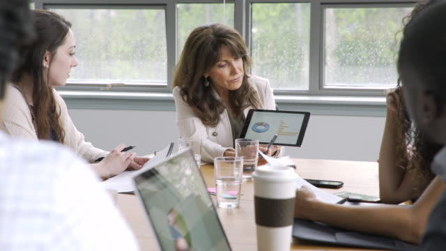 vídeos y material grabado en eventos de stock de businesswoman using digital tablet in meeting - diagrama circular