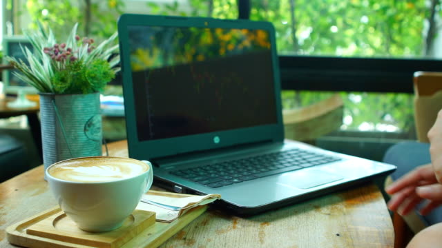 businesswoman using laptop in cafe - coffee drink stock videos & royalty-free footage