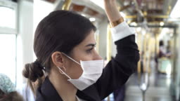 Businesswoman wearing a mask while traveling