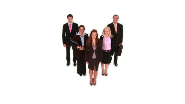 vídeos de stock e filmes b-roll de grou de hd: mulher de negócios com os colegas - camisa e gravata