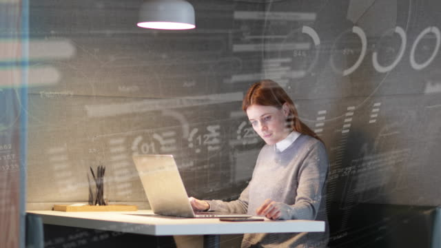 stockvideo's en b-roll-footage met businesswoman working alone in office using laptop and smart phone with infographics digital composite, futuristic, finance, technology - gewone snelheid