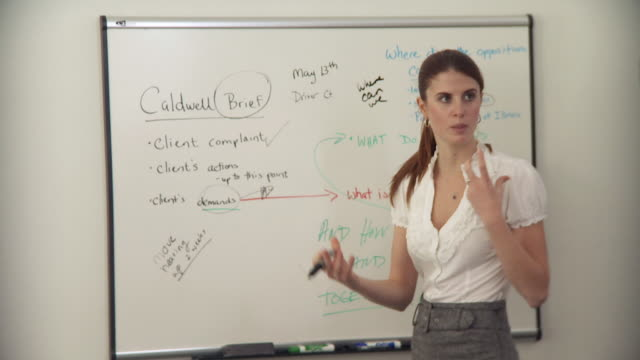 ms businesswoman writing on whiteboard / new york city, new york, usa - whiteboard stock videos and b-roll footage