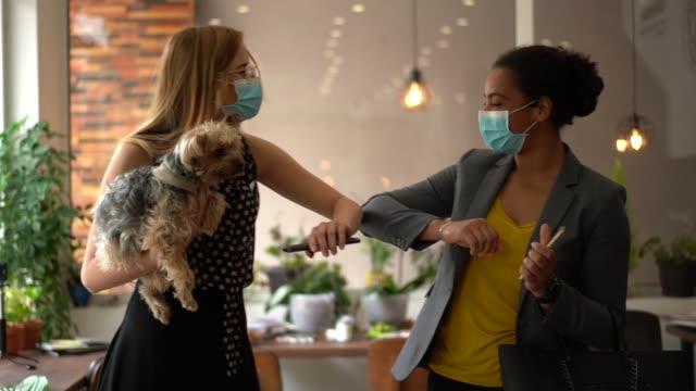 vidéos et rushes de les femmes d'affaires se cogner les coudes au lieu d'une poignée de main pendant la pandémie de covid-19 - masque de chirurgien