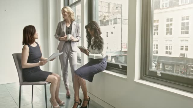 businesswomen discussing by window in office - brightly lit stock videos and b-roll footage