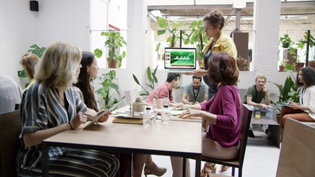Businesswomen discussing over laptop in office