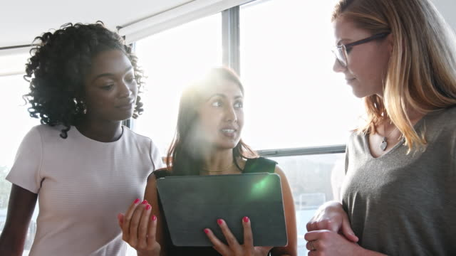 businesswomen discussing over tablet pc in office - brightly lit stock videos and b-roll footage